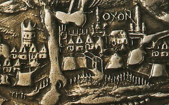 Crown coin minted in Oxford in 1644