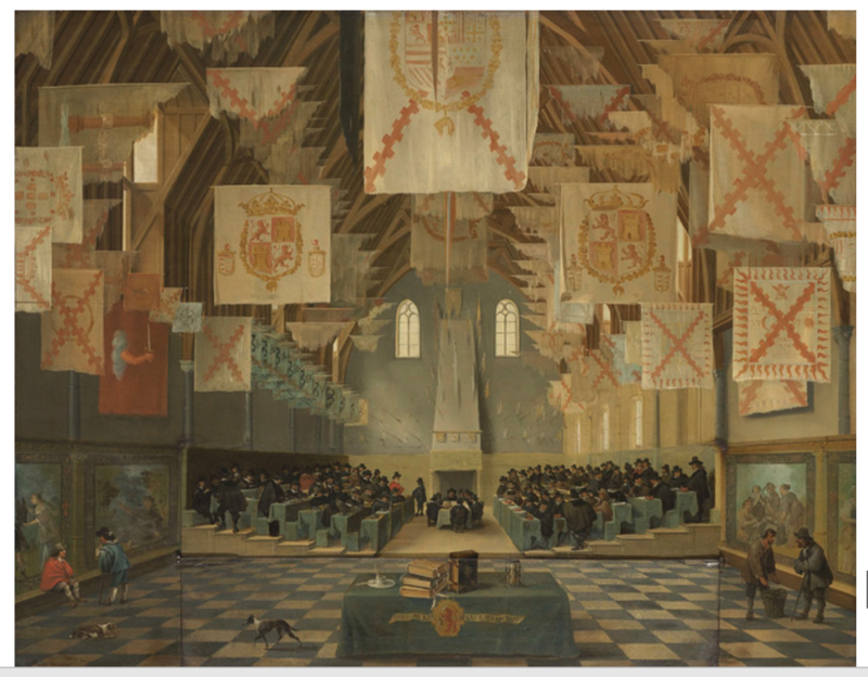 A large hall with a chequered floor and Southern Netherlandish and Spanish flags hanging from the ceiling. A large group of men, all wearing black, are seated in the middle of the hall in two opposite blocks.
