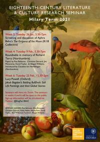18th c seminar HT poster: seminar details with a background of a still life of fruit and bullfinches