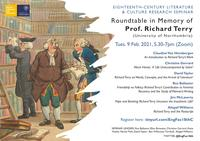 Seminar programme in front of an 18th century caricature of men in a library